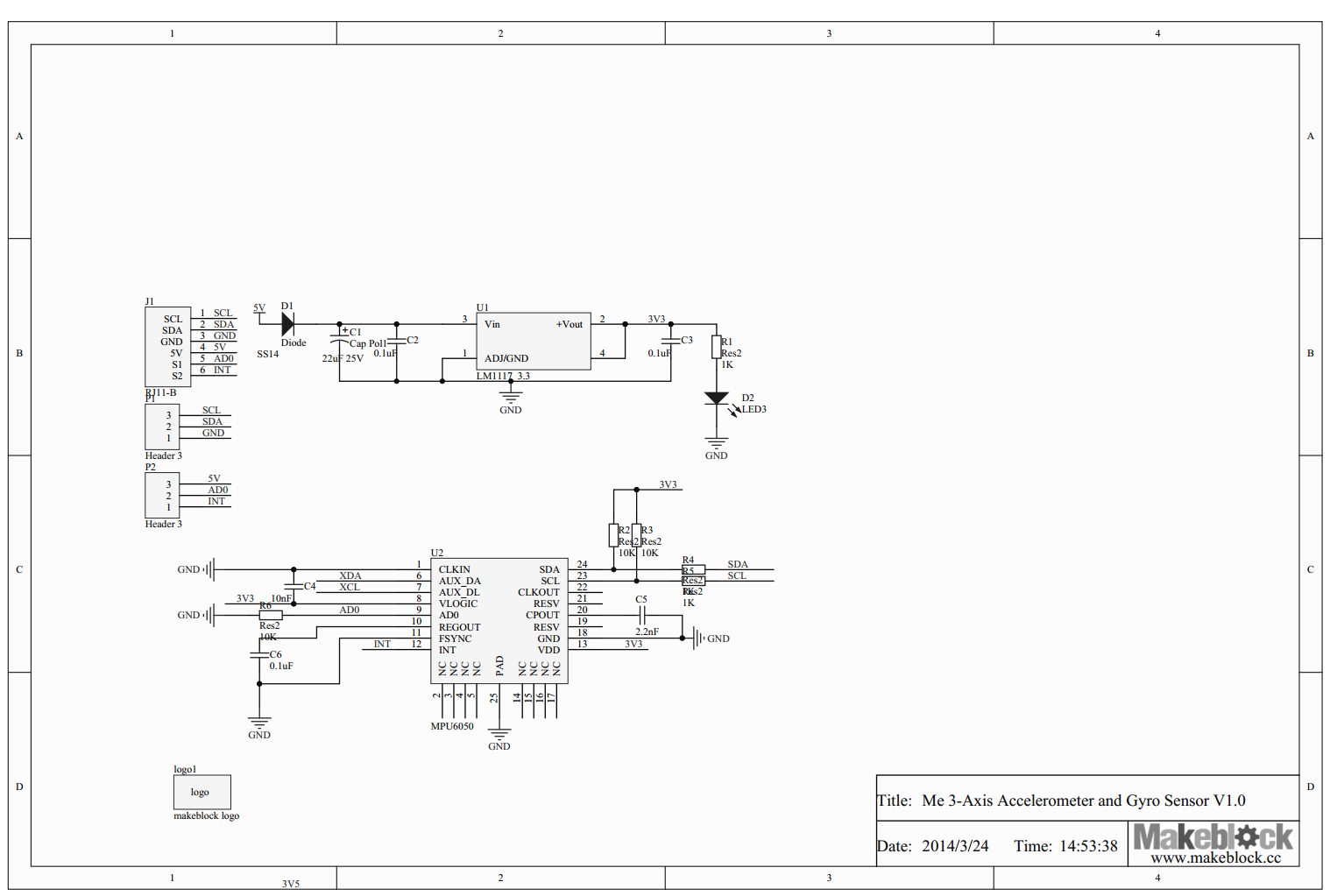The Schematic Of Me 3 Axis Accelerometer And Gyro Sensor